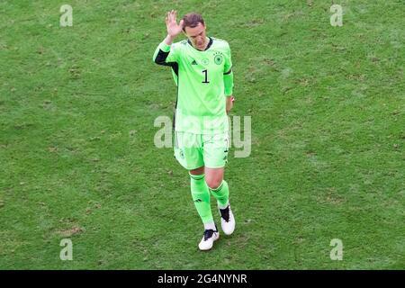 Munich, Allemagne. 19 juin 2021. Manuel Neuer d'Allemagne vu lors du match de l'UEFA EURO 2020 Championship Group F entre le Portugal et l'Allemagne à l'arène de football de Munich. (Note finale; Portugal 2:4 Allemagne) crédit: SOPA Images Limited/Alay Live News
