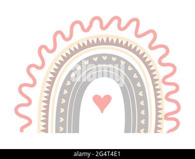 Boho joli vecteur arc-en-ciel dans des couleurs pastel. Bébé abrAct arc-en-ciel avec des gouttes, coeur, étoiles, nuage isolé sur fond blanc. Affiche imprimable illust