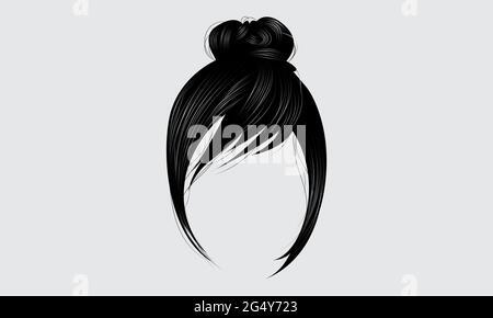 Magnifique cheveux tendance de couleur noire pour femmes. Style de beauté. Coiffage de cheveux hauts. Coiffure de pain de cheveux noirs
