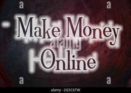 Faire de l'argent en ligne texte de concept sur l'arrière-plan