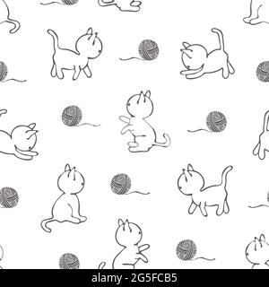 Motif vectoriel transparent avec chats sur fond blanc. Papier peint à motif animal style art. Joli tissu de mode chaton.