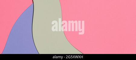 Arrière-plan abstrait de la bannière de texture de papier de couleur. Formes géométriques et lignes minimales en bleu clair, rose pastel, vert