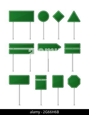 Ensemble de panneaux de signalisation de couleur verte. Illustration vectorielle sur fond blanc. Modèle de signalisation routière.