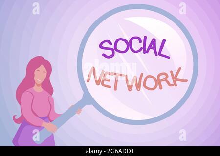 Affichage conceptuel réseau social. Photo conceptuelle un cadre de l'individu lié par interan relation individualale Résumé enquête et