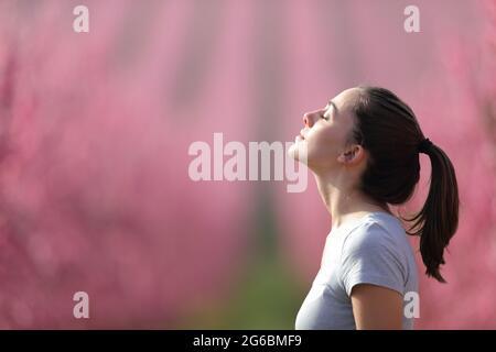 Vue latérale d'une femme qui respire de l'air frais dans un champ rose après le sport
