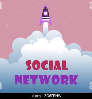 Affichage conceptuel réseau social. Mot écrit sur un cadre de l'individu lié par interan relation individualale Résumé atteindre le niveau supérieur