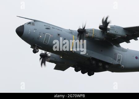 ZM406, un Airbus Atlas C1 exploité par la Royal Air Force dans le rôle de transport/transport aérien stratégique, à l'aéroport international de Prestwick, dans le Ayrshire.