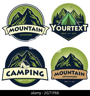 Ensemble de logos de Camping de montagne, modèles, éléments de conception de vecteur, aventure en plein air et expéditions de forêt. Emblème et emblème vintage