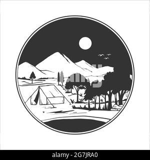 badge de camping silhouette. illustration vectorielle du camping dans les montagnes sauvages