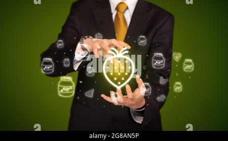 Icônes liées aux aliments à la main