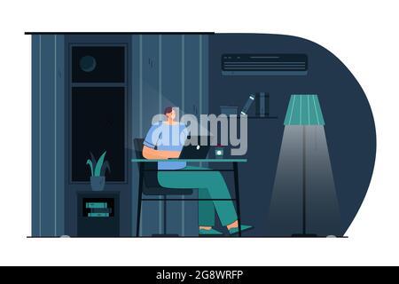Caricature jeune femme travaillant sur un ordinateur portable la nuit. Illustration vectorielle plate. Femme souriante, assise à son bureau la nuit et travaillant sur l'informatique