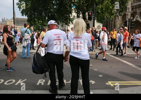 Londres, Royaume-Uni. 24 juillet 2021. Rassemblement pour la liberté - manifestation appelant à la fin du port des masques et des passeports vaccinaux. Crédit: Waldemar Sikora