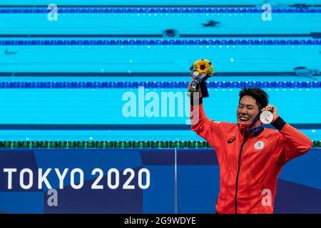 Tokyo, Japon. 28 juillet 2021. TOKYO, JAPON - JUILLET 28: Tomoru Honda du Japon a montré la médaille d'argent après avoir été en compétition avec le papillon masculin 200 lors des Jeux Olympiques de Tokyo 2020 au Centre aquatique de Tokyo le 28 juillet 2021 à Tokyo, Japon (photo de Giorgio Scala/Orange Pictures) Credit: Insidefoto srl/Alay Live News