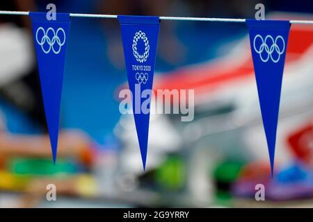 Tokyo, Japon. 28 juillet 2021. Les participants aux Jeux Olympiques au Centre aquatique de Tokyo, Japon, 28 juillet 2021, pendant les Jeux Olympiques de 2020. Crédit : Fernando Bizerra/EFE/Alay Live News