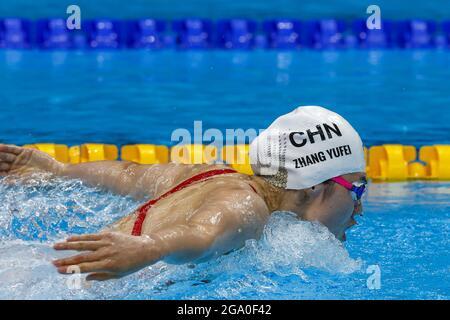 Tokyo, Japon. 28 juillet 2021. Yufel Zhang, de Chine, participe au papillon de 200 m au Tokyo Aquatics Centre, lors des Jeux Olympiques d'été de Tokyo, au Japon, le mercredi 28 juillet 2021. Photo par Tasos Katopodis/UPI. Crédit : UPI/Alay Live News