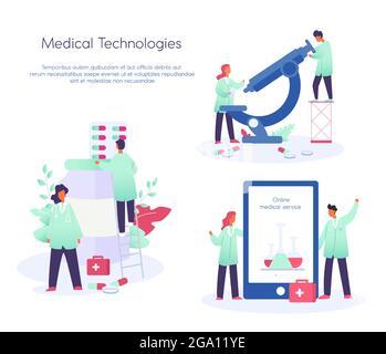 Illustration vectorielle du concept de service de médecine en ligne, communication des médecins, consultation médicale en ligne, Covid 19, vaccin. Santé et médecine
