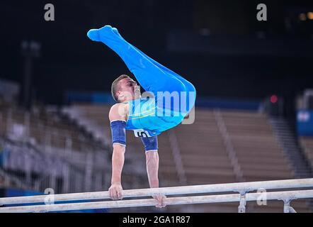 Tokyo, Japon. 28 juillet 2021. 28 juillet 2021: !180! Lors de la finale de la gymnastique artistique des hommes aux Jeux Olympiques de Tokyo au Centre de gymnastique Ariake, Tokyo, Japon. (Photo par Kim Price/CSM/Sipa USA) crédit: SIPA US/Alay Live News