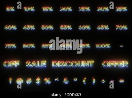 vente de texte offre de rabais et signe pour cent coloré effet néon . rendu d'illustration 3d