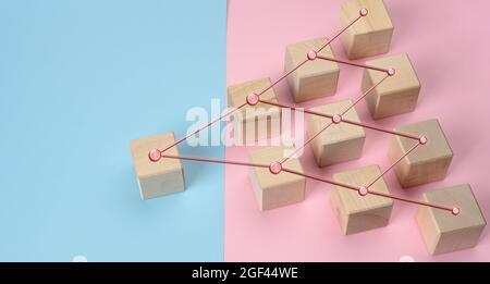 blocs en bois sur fond bleu rose, structure hiérarchique de gestion, modèle de gestion efficace dans l'organisation, haut
