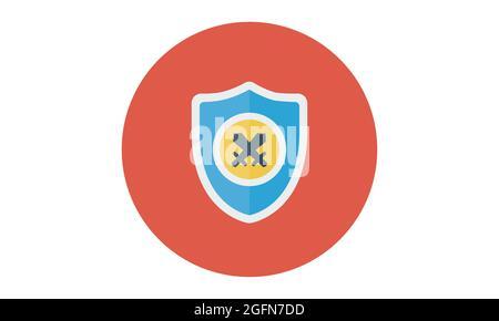 icône de bouclier vectoriel, conception plate meilleure icône de bouclier, conception d'icône d'épée avec icône de bouclier