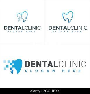 Clinique dentaire avec logo de combinaison de pixels de technologie de dent