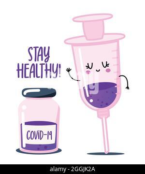Restez en bonne santé, obtenez votre vaccin contre la grippe - statut pour social distancing poster avec texte Label Vector of vaccine people. Lettrage à la main citation motivationnelle i