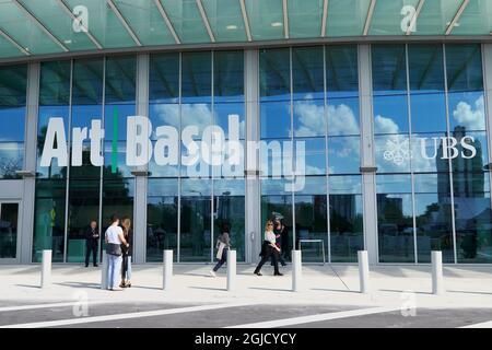 États-Unis, Floride, Miami. L'entrée à Art Basel, Miami, aux centres des congrès de Miami. Art Basel est la plus grande foire d'art contemporain au monde.