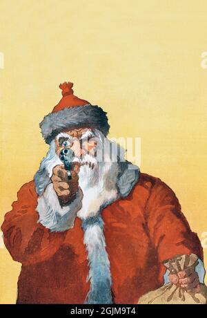 Le Père Noël, « les mains vers le haut ! » Palet de Noël, 1912. « les mains levées ! » Imprimé photomécanique montrant un Père Noël pointant une arme de poing sur le spectateur (1912) par will Crawford. Une version unique, optimisée et améliorée d'une illustration historique.