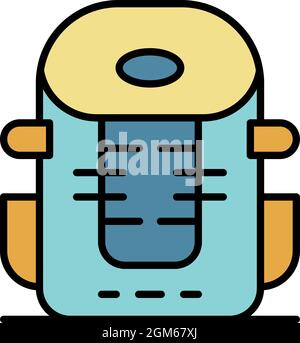 Icône de sac à dos de montagne. Contour montagne sac à dos vecteur icône couleur plat isolé sur blanc