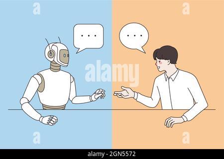 Concept d'intelligence artificielle et de technologies. Jeune homme souriant développeur assis discutant avec le robot faisant l'illustration du vecteur de recherche