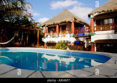 Le Mexique, Riviera Maya, Tulum Cabanas, l'Ana y Jose Banque D'Images