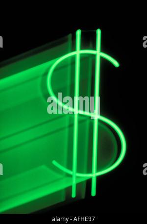 Néon vert dollar sign Banque D'Images
