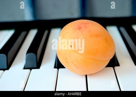 Clavier de piano close up avec abricot seul Banque D'Images