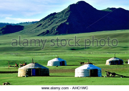 La Mongolie Arhangay province Terkhiin Lake Valley Camp nomade Banque D'Images