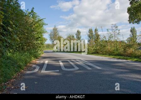 Signe lent sur country lane Banque D'Images