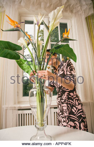 Young woman arranging flowers in vase Banque D'Images