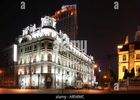 Hotel, Shanghai Pujiang Astor House, dans la nuit Banque D'Images