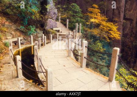 Sentier, nuage blanc scenic area, Huang Shan (montagnes jaunes), l'UNESCO World Heritage Site, Anhui Province, China, Banque D'Images