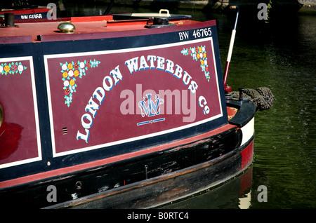Détail de péniche amarrée à Camden Lock à Londres Banque D'Images