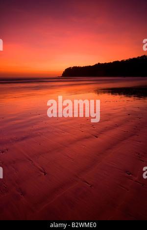 Coucher du soleil à plage d'Agonda, Sud de Goa, Inde, Asie Banque D'Images
