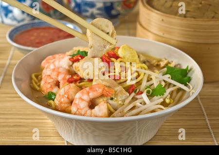 Plat de nouilles épicées Laksa Malaisie Singapore Food Banque D'Images