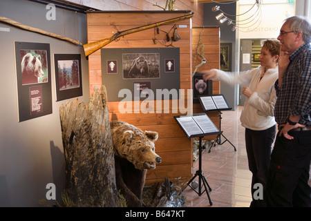 La Finlande, Kuhmo, Petola Centre d'accueil. Informations sur la plus grande des carnivores et preditors, comme Banque D'Images