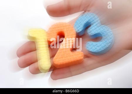 Numéros un, deux, trois Banque D'Images