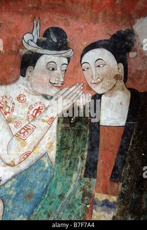 Les amateurs de thaï séduction, xixe siècle peinture murale peinture murale ou par Thit Buaphan, temple Wat Phumin, Banque D'Images