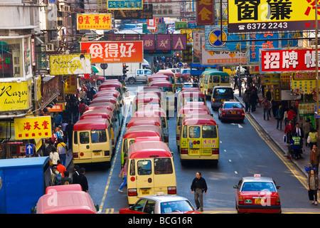 Les bus nr Fa Yuen Street Market Hong Kong Chine Banque D'Images