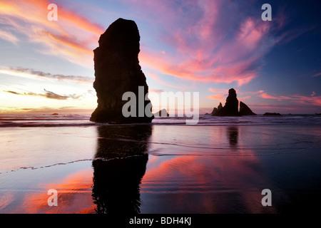 Marée basse et du coucher du soleil à réflexion Samuel H. Boardman State Scenic Corridor. Oregon Banque D'Images