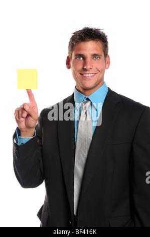Businessman holding images isolées sur fond blanc Banque D'Images