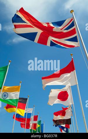 Union Jack et d'autres pays monde drapeaux internationaux Banque D'Images