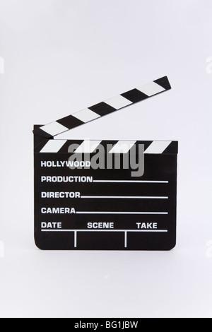 Film clapper board tableau noir ardoise titre Hollywood film production film prendre coupe rouleau directeur éditer Banque D'Images
