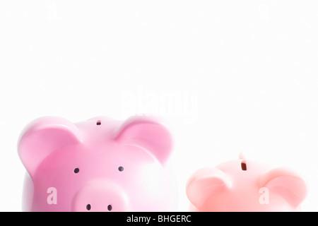Piggy Banks on white Banque D'Images